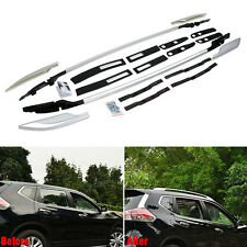 Silver Aluminum Top Roof Side Rails Luggage Rack For Nissan Rogue X-Trail 14-17