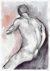 original painting A3 111GS art samovar watercolor male naked Signed 2021