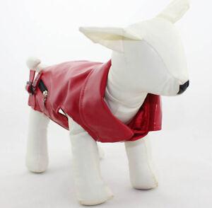 (SM-MED BREED) XS-XXL RED PU LEATHER BIKER  PET DOG VEST