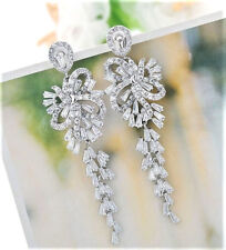 White Gold Plated Boxed Gift Long Silver CZ Crystal Paste Drop Earrings UK