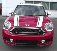 MINI CLUBMAN JOHN COOPER WORKS FRONT BONNET STRIPES WHITE DECAL STICKER