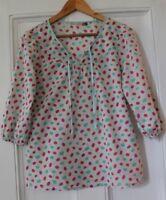 "Seasalt ""Moomin"" spot print 3/4 sleeve top lightweight Cotton UK 10"