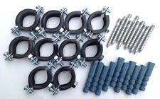 10x Gelenkrohrschellen Rohrschellen Einfach mit Gummieinlage Stockschrauben SET