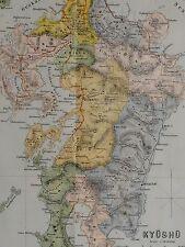 1907 Giappone turista giapponese MAP ~ Kyushu chikugo Nagasaki buzen HYUGA