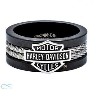 Ring of Harley-Davidson Motor Cycles Men's Badass, Bar & Shield Cable Band
