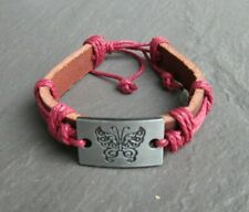 Silver Butterfly Leather Bangle Bracelet Adjustable Womens Hippie Jewelry UK