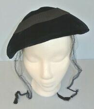 Vtg. Jordan Marsh Navy Blue Velvet with Accordion Ribbon Accent Women's Half Hat