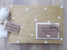 PERSONALISED NEW GRANDDAUGHTER WOODEN SCRAPBOOK/PHOTO BOOK /MEMORIES