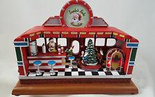 Santa's Soda Fountain Musical figurine lights up plays Jingle Bell Rock New B/O
