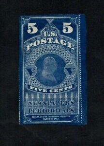 1865. 5c DEEP BLUE NEWSPAPER STAMP. USED. EDGES TRIMMED TOP & LEFT. PEN CANCEL.