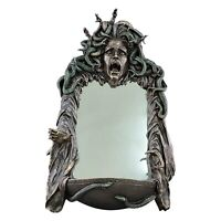 Medusa Head of Snakes Gothic Wall Mirror Décor Statue Sculpture Bronze Finish