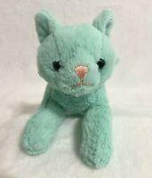 "Animal Adventure Cat Kitten Mint Green Aqua Blue Plush Stuffed Animal 7"""