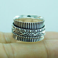 925 Sterling Silver Plated Meditation Spinner Ring US Size 9 R-340