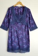 INDIGO COLLECTION BY M&S LADIES PURPLE FLORAL COTTON DRESS SIZE 10