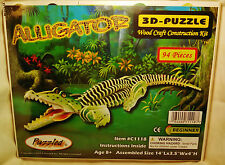 """3D PRE-COLORED WOOD PUZZLE """"ALLIGATOR"""" BY PUZZLED"""