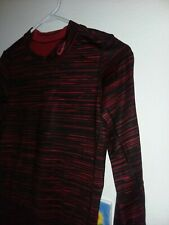 NIKE PRO COMBAT youth boys l/s athletic top  dri-fit stripes red black XL(12)