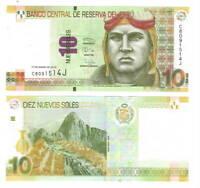PERU 10 Nuevos Soles Banknote (2013) P-187 UNC Paper Money