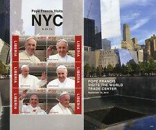 Liberia 2015 MNH Pope Francis Visits NYC World Trade Center 6v M/S