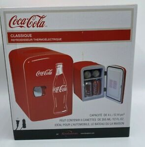 Coca-Cola 6 Can Mini Beverage Center / Fridge Car or Wall Plug In Option New
