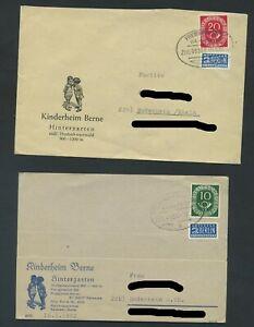BRD 128, 130;  2 Briefe Bahnpost von FREIBURG nach BODENHEIM  #m256