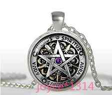 Pentagram Wiccan Cabochon Tibetan silver Glass Chain Pendant Necklace #1067