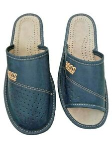 Mens Natural Leather Slippers Shoes Sandals BOSS Navy Blue Open/Closed toe Mules