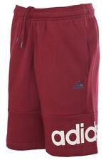 Men's New Adidas Long Knee Length Shorts Cotton Pants Bottoms - Burgundy Red