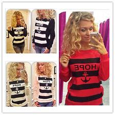 Women Fashion Anchor Stripe Sweatshirt Top Crew Neck Fleece Jumper Pullover Tops