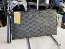 Michael Kors Jet Set Large Zip Clutch Wristlet Bag MK Logo Black/gray