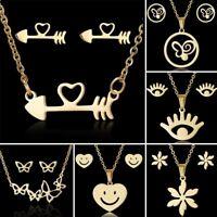 Stainless Steel Jewelry Set Butterfly Heart Pendant Necklace Ear Stud Earrings