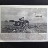 ANTIQUE PRINT - AMERICAN PONY EXPRESS MISSOURI RIVER SAN FRANCISCO USA - 1861