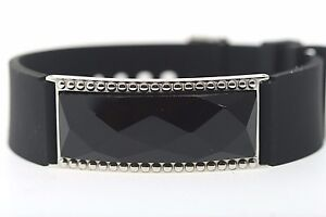 LOT OF 5 (FIVE) Shaquille O'Neal 20mm Stainless Steel Black Onyx Band Bracelet
