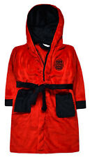 Boys Football Bathrobe Kids Fleece Hooded Dressing Gown Ages 2 - 13 Years Red 3-4 Years