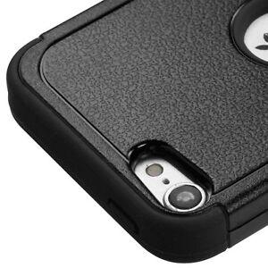 iPod Touch 5th 6th 7th Gen -Black Armor Kickstand Hard&Soft Rubber Hybrid Case