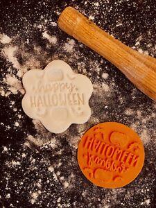 Happy Halloween Pumpkin Bat Cookie Fondant Embosser Stamp 3D Printed 6cm