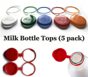 Milk Bottle Tops 5 Pack Reusable Silicone Lids For UK Glass Milk Bottles 1 Pint