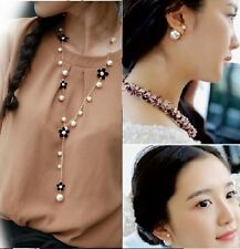 COMBO Double Ball Stud Earrings + Flower Pearl Gold Chain Pendant Necklace Set