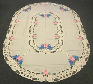 """Beige 72x90"""" Oval Embroidered Embroidery Tablecloth 8 Napkins Vintage Applique"""