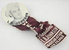 Vintage Pinback Button Lyndon B Johnson Inauguration Button Burgandy Ribbon