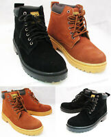 """Men's Work Boots Suede Leather 6"""" Lace-Up Cushioned Padded Winter Shoes, Sizes"""