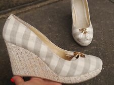 Ladies womens checked wedges summer shoes heels size 7 canvas