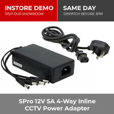 SPro 12V 5A 4-Way Inline CCTV Camera DVR Power Supply Adapter PSU + Power Cable