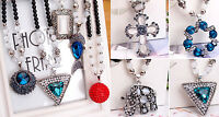 Hot Multi Style Fashion Crystal Pendant bead sweater Chain long Necklace N02