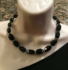 "WHITE HOUSE BLACK MARKET SILVER DISC CRYSTAL BEADED 34/"" STRAND NECKLACE-NWOT!"