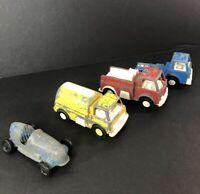 Lot of 4 Vintage TootsieToy Diecast Metal Cars Fire Fuel Trucks Very Used