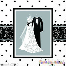 BLACK AND WHITE WEDDING LUNCH NAPKINS (16) ~ Bridal Party Supplies Dinner Large