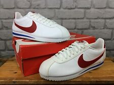 NIKE MENS CLASSIC CORTEZ LEATHER WHITE RED BLUE TRAINERS MANY SIZES T