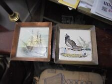 """Vintage Bird + Ship Colored Tiles In Copper 5+1/4""""Sq Unmarked Estate Items"""