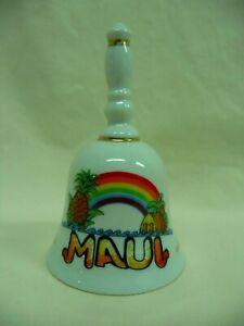 Souvenir White Porcelain Maui Decorative Collectible Bell Rainbow Pineapple