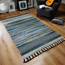 Kelim striped rugs hand woven cotton chenille made in india colour beige on sale